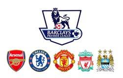 El fútbol de la liga primera de Barclays aporrea el logotipo ilustración del vector
