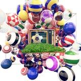 El fútbol en la TV con colores brillantes del fútbol aporrea Imágenes de archivo libres de regalías