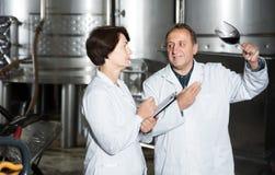 El fabricante del experto y del vino estima calidad del vino rojo en copa foto de archivo libre de regalías