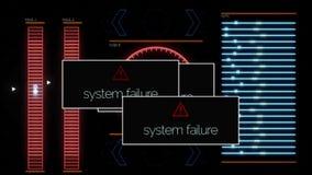 El fallo del sistema de las inscripciones aparece en la pantalla de ordenador debido a error del programa animaci?n Se?al video q stock de ilustración