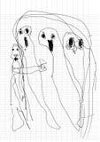 El fantasma garabatea por el niño real, dibujando la pluma del estilo en el cuaderno de papel Fotografía de archivo libre de regalías