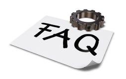 El FAQ de la palabra en la rueda de papel de la hoja y de engranaje - representación 3d Imagen de archivo libre de regalías