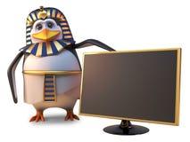 El faraón Tutankhamun del pingüino está satisfecho con la última alta televisión con pantalla grande del oro de la definición, ej ilustración del vector