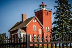 El faro de dos puertos es el faro más viejo de Minnesotas imagen de archivo