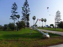 El Faro de la Marina parkerar i Miraflores, Lima Arkivbilder