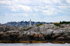 El faro del puerto de Boston es el faro más viejo de Nueva Inglaterra Foto de archivo
