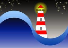 El faro en la noche en la cubierta de libro Tema marina Foto de archivo libre de regalías