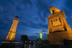 El faro y la Lyon del Lindau se abrigan Fotos de archivo libres de regalías