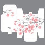 El favor de la boda del regalo muere plantilla del diseño de la caja con el modelo de Sakura stock de ilustración
