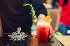 El favorable camarero experto da la representación del cóctel en el vidrio plástico adornado con la naranja secada rosmarineand f Foto de archivo