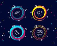 El fechar, clip de papel e iconos románticos de la charla Muestra de la presentación Ame al mensajero, paperclip de la fijación,  ilustración del vector