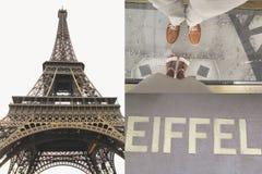 El fechar en París En la torre Eiffel Amor, humor romántico Cáseme, oferta en París en la torre Eiffel Tarjeta de la vendimia Imagen de archivo