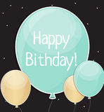 El feliz cumpleaños brillante hincha el ejemplo del vector del fondo Fotos de archivo libres de regalías