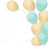 El feliz cumpleaños brillante hincha el ejemplo del vector del fondo Foto de archivo libre de regalías