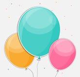 El feliz cumpleaños brillante hincha el ejemplo del vector del fondo Fotografía de archivo
