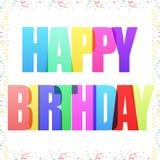 El feliz cumpleaños celebra el saludo de la postal con confeti ilustración del vector