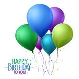 El feliz cumpleaños colorido hincha el vuelo para el partido y las celebraciones ilustración del vector