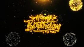 El feliz cumpleaños desea la tarjeta de felicitaciones, invitación, fuego artificial de la celebración colocado stock de ilustración