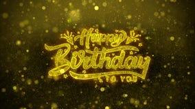 El feliz cumpleaños desea la tarjeta de felicitaciones, invitación, fuego artificial de la celebración stock de ilustración