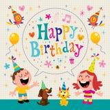 El feliz cumpleaños embroma la tarjeta de felicitación Foto de archivo libre de regalías