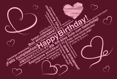 El feliz cumpleaños en tarjeta de felicitación del wordcloud de los otros idiomas con el corazón forma libre illustration