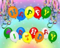 El feliz cumpleaños hincha la invitación Imagenes de archivo