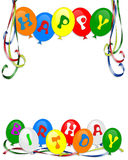 El feliz cumpleaños hincha la invitación Foto de archivo