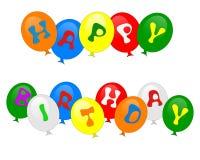 El feliz cumpleaños hincha la invitación aislada Fotografía de archivo