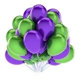 El feliz cumpleaños hincha verde púrpura Party la decoración stock de ilustración