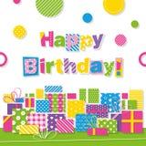 El feliz cumpleaños presenta la tarjeta de felicitación Imagen de archivo libre de regalías