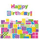 El feliz cumpleaños presenta la tarjeta de felicitación Imágenes de archivo libres de regalías