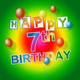El feliz cumpleaños representa la celebración Joy And Seventh Fotos de archivo