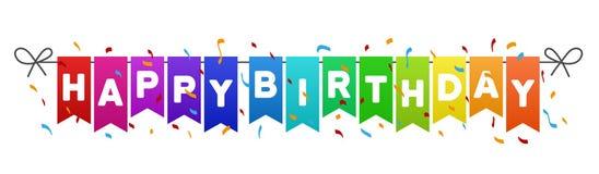 El feliz cumpleaños señala la bandera por medio de una bandera ilustración del vector