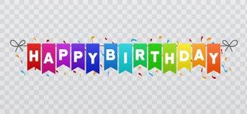El feliz cumpleaños señala la bandera por medio de una bandera Fondo transparente ilustración del vector