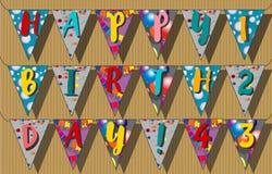 El feliz cumpleaños señala las guirnaldas por medio de una bandera Ilustración del vector Imagenes de archivo