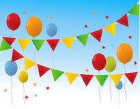 El feliz cumpleaños coloreado hincha la bandera Imagen de archivo