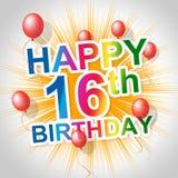 El feliz cumpleaños muestra décimosexto décimosexto y celebraciones Fotografía de archivo