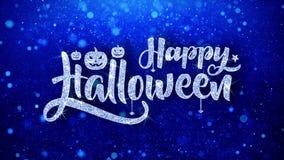 el feliz Halloween desea las partículas chispeantes del centelleo del polvo del brillo azul colocadas ilustración del vector