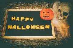 El feliz Halloween redacta el fondo retro de la decoración del estilo Fotografía de archivo libre de regalías