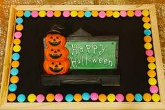El feliz Halloween redacta la decoración con el fondo asustadizo de la calabaza Foto de archivo libre de regalías