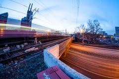 El ferrocarril de la noche Fotografía de archivo