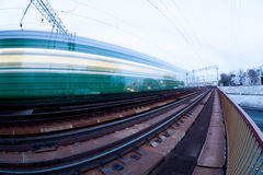 El ferrocarril de la noche Fotos de archivo libres de regalías