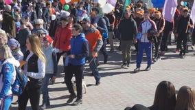el festival anual se organiza para los trabajadores Rusia Berezniki-puede 1, 2018 almacen de metraje de vídeo