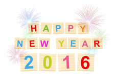 ¡el festival celebra la Feliz Año Nuevo 2016! - texto en madera Imagen de archivo
