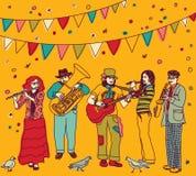 El festival de música señala color de los músicos por medio de una bandera del grupo Fotografía de archivo