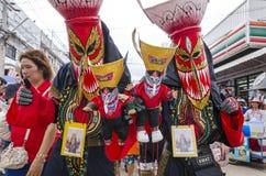 El festival de Phi Ta Khon es la atracción más grande al pueblo agrícola de otra manera soñoliento de Dan Sai foto de archivo libre de regalías
