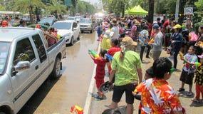 El festival de Songkran se celebra con los elefantes en Ayutthaya Imagenes de archivo