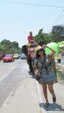 El festival de Songkran se celebra con los elefantes en Ayutthaya Foto de archivo libre de regalías