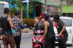 El festival de Songkran se celebra en Tailandia Imagen de archivo libre de regalías