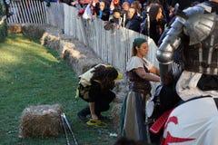 El festival medieval 2015 en la parte 4 30 del parque de Tryon del fuerte Imagen de archivo
